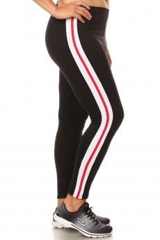 PLUS SPORT BRUSH POLY LEGGING W/ CONTRAST SIDE STRIPES PANELS#X8L102