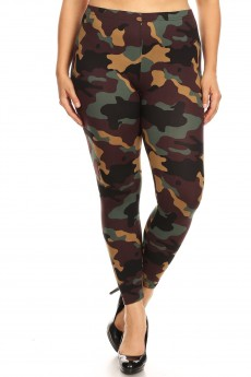 PLUS GREEN/BROWN/BLACK CAMO PRINT BRUSH POLY LEGGING#X8L34-CM01