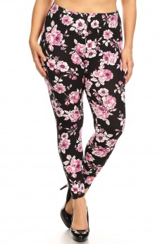 PLUS BLACK/WHITE/PINK FLORAL PRINT BRUSH POLY LEGGING#X8L34-FL38