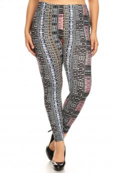 PLUS BLACK/PINK/BLUE TRIBAL PRINT BRUSH POLY LEGGING#X8L34-TB04