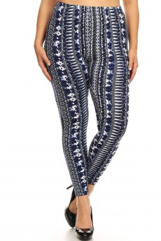 PLUS BLACK/NAVY/WHITE TRIBAL PRINT BRUSH POLY LEGGING#X8L34-TB05