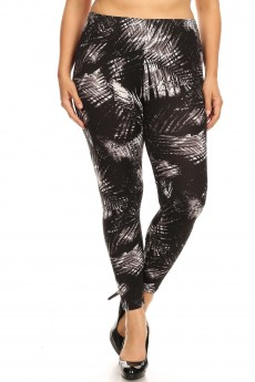 PLUS BLACK/GREY/WHITE TROPICAL PRINT BRUSH POLY LEGGING#X8L34-TP01A