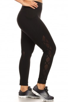 HIGH WAIST SPORT LEGGING W/ SIDE CRISS CROSS STRAPS & OVERLAP#X8L56