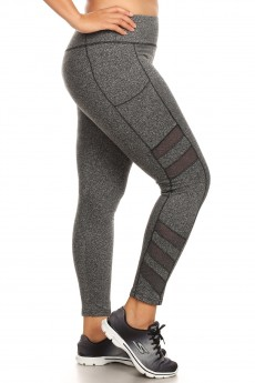 PLUS SCULPTING LEGGING W/ SIDE POCKET & TIERED MESH PANELS#X8L67