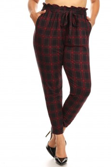PLUS BLACK/RED PLAID PRINT PAPER BAG WAIST PANTS#X8PNT03-04