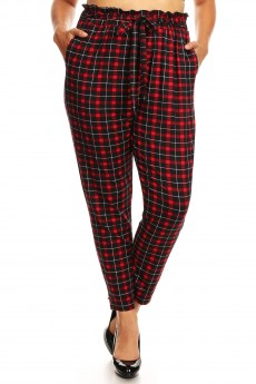 PLUS BLACK/RED PLAID PRINT PAPER BAG WAIST PANTS #X8PNT03-09