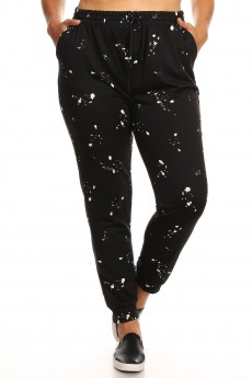 PLUS BLACK/WHITE PAINT SPLASH PRINT SOFT FRENCH TERRY JOGGER#X8TRK30-01