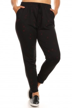 PLUS BLACK/RED PAINT SPLASH PRINT SOFT FRENCH TERRY JOGGER#X8TRK30-02