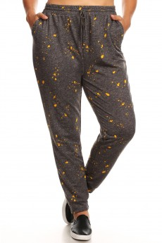 PLUS HEATHER CHARCOAL/MUSTARD PAINT SPLASH PRINT SOFT FRENCH TERRY JOGGER#X8TRK30-04