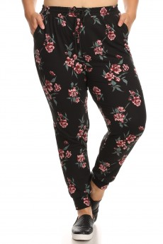 BLACK/RED/GREEN FLORAL PRINT JOGGER WITH SHOE LACE TIE#X8TRK36-07