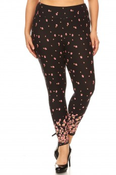 PLUS BLACK/PINK FLORAL BORDER PRINT HIGH WAIST CROPPED LEGGING#X9L05-BD12