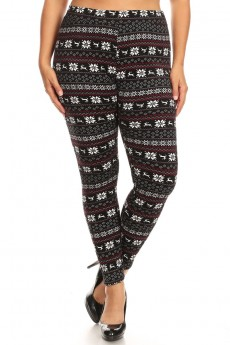 PLUS BLACK/WHITE/BUR FAIRISLE PRINT VELVET FUR-LINED LEGGING#X9L29-HL10