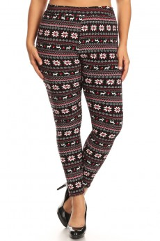 PLUS BLACK/WHITE/RED FAIRISLE PRINT VELVET FUR-LINED LEGGING#X9L29-HL49