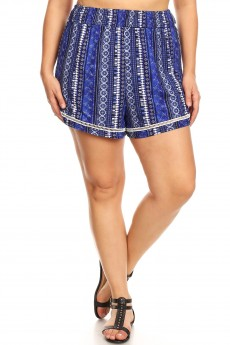 PLUS NAVY/BLUE BOHO SMOCKING WAIST SHORTS W/ HEM TRIM#X9SH12-BH05