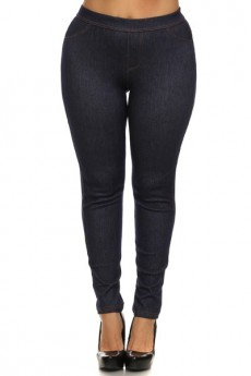 PLUS SIZE JEGGINGS WITH BACK POCKETS BLACK #XJL15P002