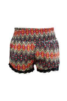 KIDS BLACK/MULTI-NEON AZTEC SMOCKING SHORTS W/ LACE TRIM(7/8, 10/12) #XK6SH12-01