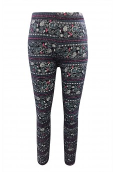 KIDS BLACK/MINT/CORAL PAISLEY PRINT BRUSH POLY LEGGING(7/8,10/12)#XK7L01-51