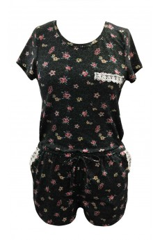 HEATHER BLACK/PINK DEMIN-LIKE MINI FLORAL PRINT SHORT SLEEVE ROMPER(4/5,6/6X)#K7RMP09-02