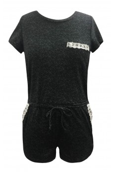 HEATHER BLACK DENIM-LIKE PRINT SHORT SLEEVE ROMPER(4/5,6/6X)#K7RMP09-06