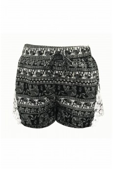 KIDS BLACK/WHITE ELEPHANT PRINT SHORTS W/ WHITE LACE APPLIQUE (7/8,10/12) #XK7SH16-05