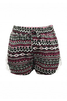 KIDS GREY/PINK/WHITE ELEPHANT TRIBAL SHORTS W/ WHITE LACE APPLIQUE(7/8,10/12)#XK7SH16-07