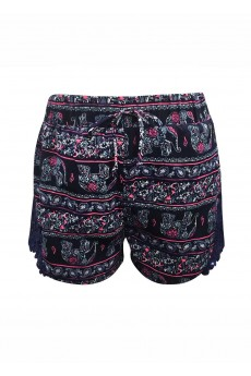 KIDS NAVY/PINK/WHITE ELEPHANT PRINT SHORTS W/ NAVY LACE APPLIQUE(7/8,10/12)#XK7SH16-10