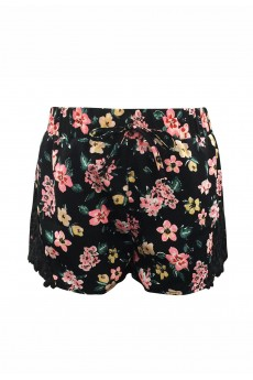 KIDS BLACK/CORAL/GREEN FLORAL PRINT SHORTS W/ BLACK LACE APPLIQUE(7/8,10/12)#XK7SH16-11