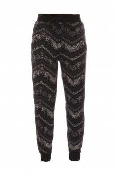 KIDS BLACK/WHITE CHEVRON PAISLEY FLEECE-LINED SWEATER KNIT JOGGER(4/5, 6/6X)#K7TRK16-02