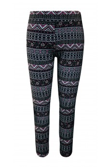 KIDS BRUSH POLY BLACK/PINK/WHITE FAIRISLE PRINT FUR-LINED LEGGING(7/8, 10/12)#XK8L87-04