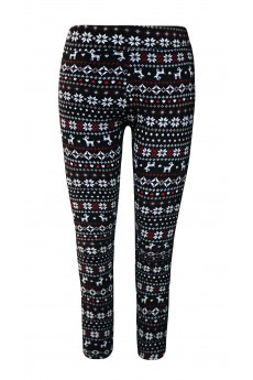 KIDS BRUSH POLY BLACK/RED/WHITE REINDEER PRINT FUR-LINED LEGGING(7/8, 10/12)#XK8L87-05