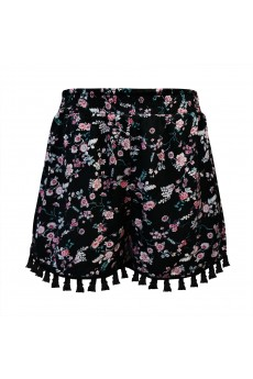 KIDS BLACK/GREY/PINK FLORAL PRINT SMOCKING WAIST SHORTS W/ TASSEL TRIM(7/8,10/12)#XK8SH15-03