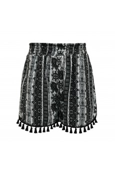 KIDS BLACK/WHITE PAISLEY PRINT SMOCKING WAIST SHORTS W/ TASSEL TRIM(4/5,6/6X)#K8SH15-05