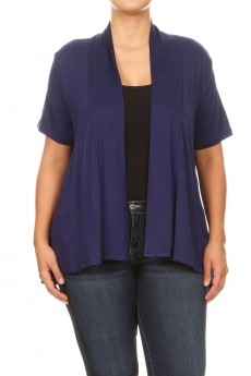 MISSY PLUS SOLID RAYON SPAN CARDIGAN#XMCA005-SRS
