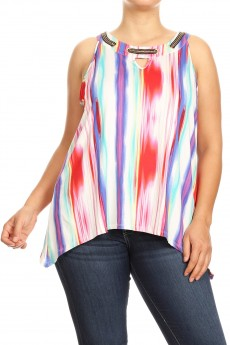 MISSY PLUS NON BRUSHED BLURRY STRIPE CHAIN GROMMET SHARKBITE SLVLESS TOP#XSL004-AB03