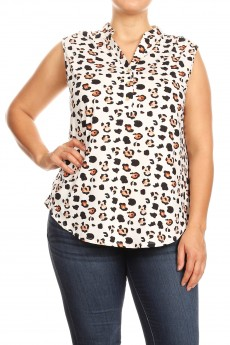 MISSY PLUS NON BRUSHED ANIMAL PRINT PLACKET SLEEVELESS TOP#XSL008-SK11