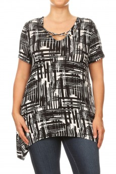 MISSY PLUS RAYON SPAN ABSTRACT SHORT SLV GROMMET X SHARKBITE TOP#XTS003-AB04