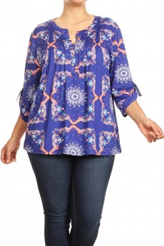 MISSY PLUS NON BRUSHED SCARF PRINT TUCK FRONT PLACKET 3/4 D RING TAB SLV #XTT003-BN01