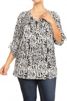 MISSY PLUS NON BRUSHED SCARF PRINT TUCK FRONT PLACKET 3/4 D RING TAB SLV#XTT003-SK09