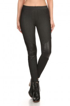 BLACK FLEECE LINED JEGGING W/ QUILTED KNEE PATCH #YD6JG07