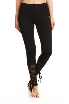 LEGGING W/ MESH LEG PANELS & CRISS CROSS SIDE PANELS #YD7L58