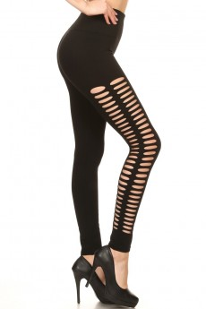 BLACK SEAMLESS LEGGING WITH DOUBLE SLICED CUT OUT SIDE PANELS#7L84