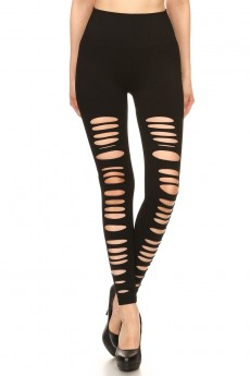 "BLACK SEAMLESS LEGGING WITH ""DESTROYED"" LEG PANELS#7L89"
