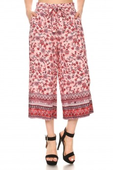 PINK/RED FLORAL BORDER PRINT CULOTTES W/ FRONT SASH TIE#YD8CLT01-02