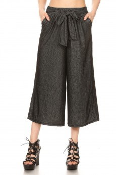 STRETCH DENIM CULOTTES WITH FRONT SELF WAIST TIE#YD8CLT04