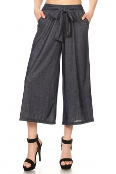 STRETCH DENIM CULOTTES W/ FRONT SELF WAIST TIE#8CLT04