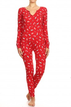 RED/WHITE HOLIDAY PENGUIN PRINT BUTTONED UP ONESIE JUMPSUIT #YD8JPS26-01