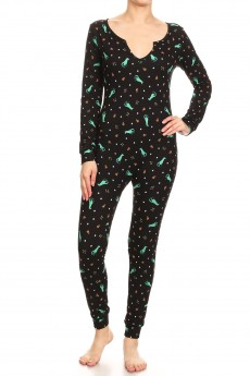 BLACK/GREEN HOLIDAY DINOSAUR PRINT BUTTONED UP ONESIE JUMPSUIT#YD8JPS26-05