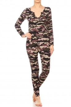 BLACK/GREEN/BROWN CAMO PRINT BUTTONED UP ONESIE JUMPSUIT #YD8JPS26-08