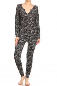 BLACK SPACE DYE PRINT LIGHT FLEECE LINED BUTTONED ONESIE#8JPS26-SD06