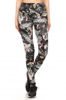BLACK/PINK/MULTI TROPICAL PRINT TUMMY CONTROL HIGH WAIST LEGGING#YD8L27-09